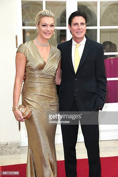 Maria HoeflRiesch and her husband Marcus Hoefl during the 'Die Goldene Deutschland' Gala on July 26 2015 at Cuvillies Theater in Munich Germany