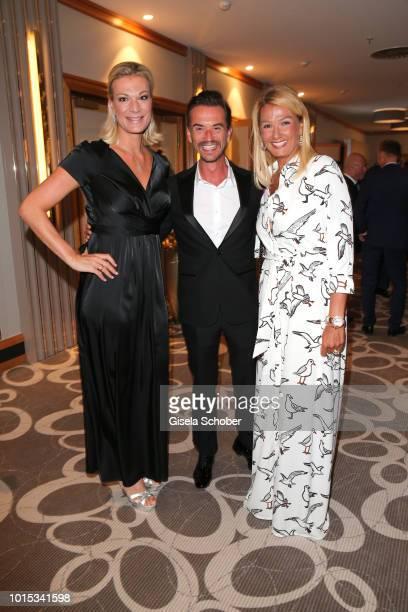 Maria HoeflRiesch Florian Silbereisen and Franziska van Almsick during the 11th GRK Golf Charity Masters reception on August 11 2018 at The Westin...