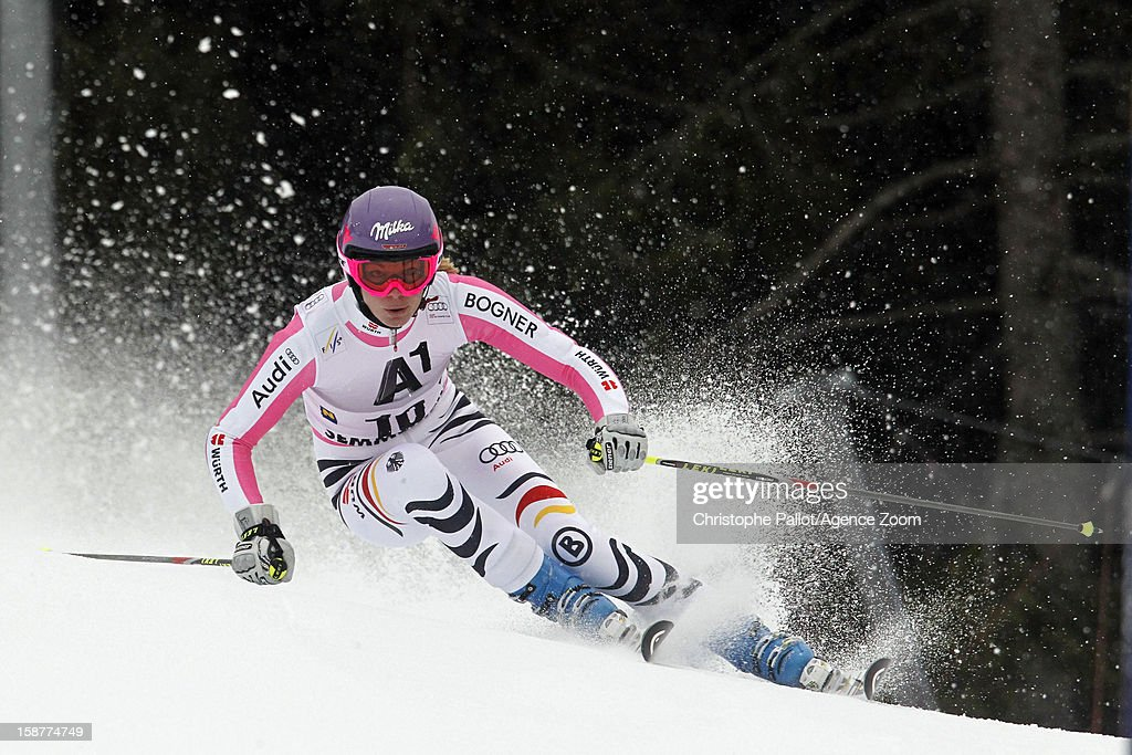 Maria Hoefl-Riesch of Germany competes during the Audi FIS Alpine Ski World Cup Women's Giant Slalom on December 28, 2012 in Semmering, Austria.