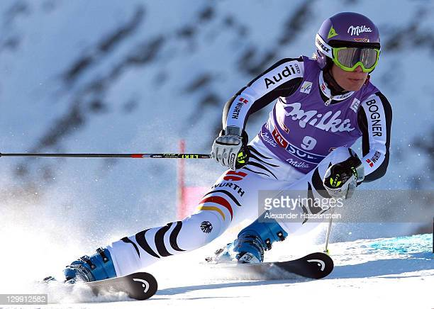 Maria Hoefl-Riesch of Germany competes in the women's giant slalom event of the Woman's Alpine Skiing FIS World Cup at the Rettenbachgletscher on...