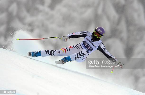 Maria HoeflRiesch of Germany during the Audi FIS Alpine Ski World Cup Women's Downhill Training on February 3 2012 in GarmischPartenkirchen Germany