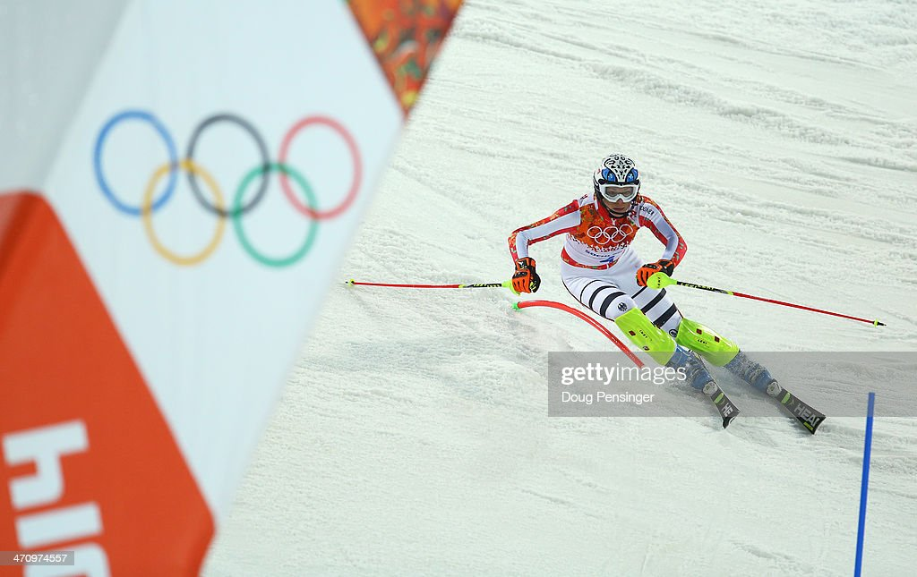Maria Hoefl-Riesch of Germany in action during the Women's Slalom during day 14 of the Sochi 2014 Winter Olympics at Rosa Khutor Alpine Center on February 21, 2014 in Sochi, Russia.