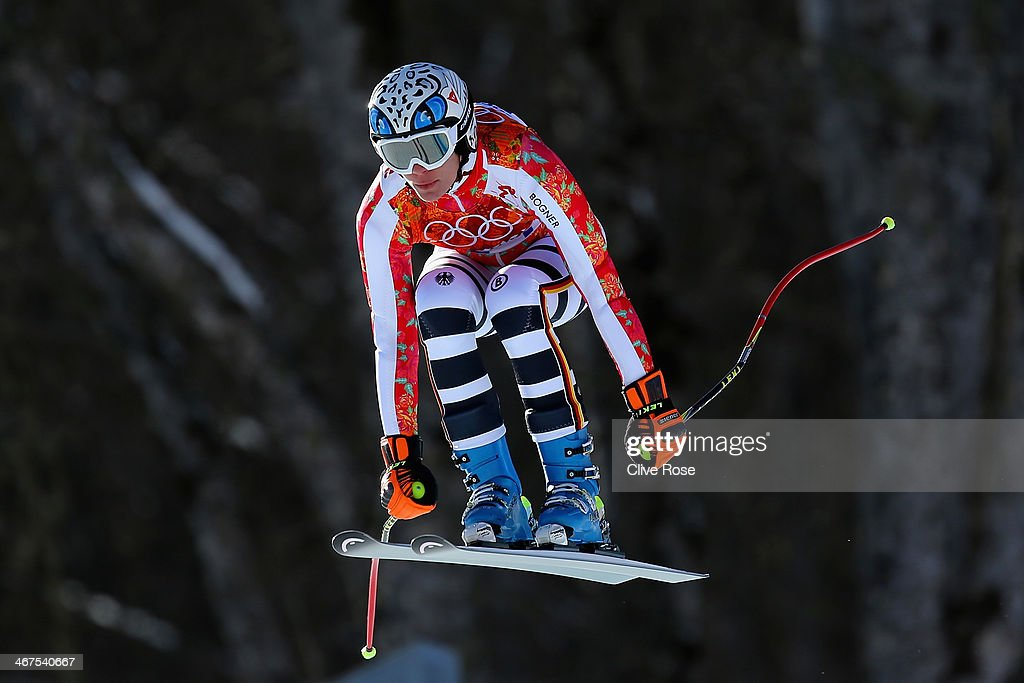 Maria Hoefl-Riesch of Germany in action during training for the Alpine Skiing Women's Downhill ahead of the Sochi 2014 Winter Olympics at Rosa Khutor Alpine Center on February 7, 2014 in Sochi, Russia.