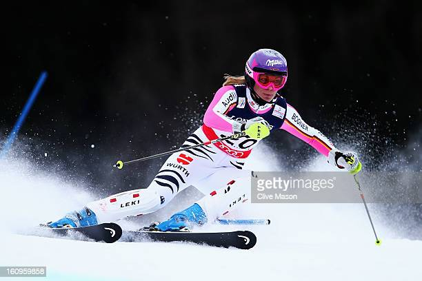 Maria HoeflRiesch of Germany skis in the Slalom section on her way to victory in the Women's Super Combined during the Alpine FIS Ski World...