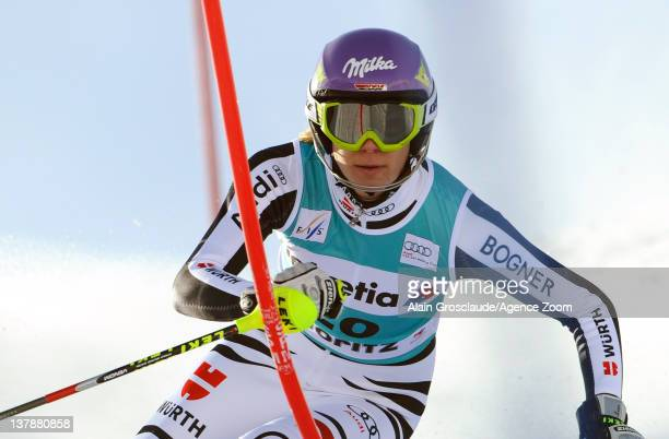 Maria HoeflRiesch of Germany takes 1st place during the Audi FIS Alpine Ski World Cup Women's Super Combined on January 29 2012 in StMoritz...