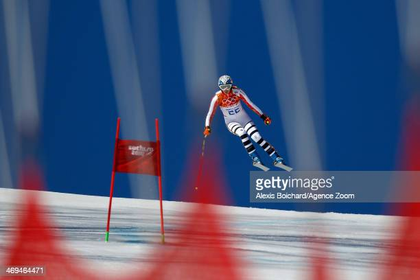 Maria Hoefl-Riesch of Germany wins the silver medal during the Alpine Skiing Women's Super-G at the Sochi 2014 Winter Olympic Games at Rosa Khutor...
