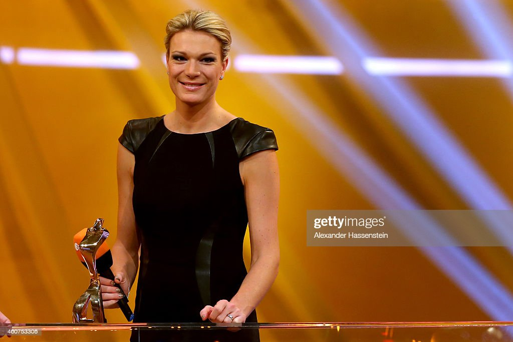 Maria Hoefl-Riesch smiles with the Athlete of the Year award during the Sportler des Jahres 2014 (German Athlete of the Year) gala at the Kurhaus Baden-Baden on December 21, 2014 in Baden-Baden, Germany.