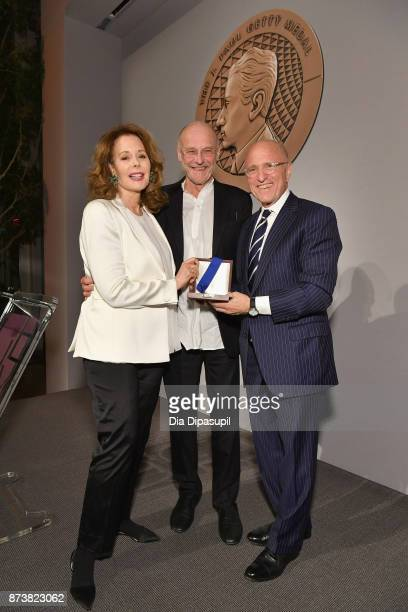 Maria HummerTuttle Anselm Kiefer and Jim Cuno pose for a photo onstage during the Getty Medal Dinner 2017 at The Morgan Library Museum on November 13...
