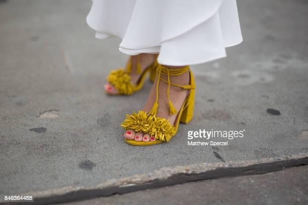 Maria Iragorri is seen attending NaeeM Khan and Chiara Boni La petite Rose during New York Fashion Week wearing Anarias Atelier on September 12 2017...