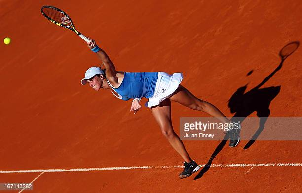 Maria Irigoyen of Argentina serves to Elena Baltacha of Great Britain during day two of the Fed Cup World Group Two PlayOffs between Argentina and...