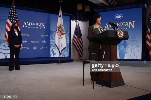 """Maria """"Isabel"""" Ballivian Linale introduces U.S. Vice President Kamala Harris before she delivers remarks about the Biden administration's decision to..."""