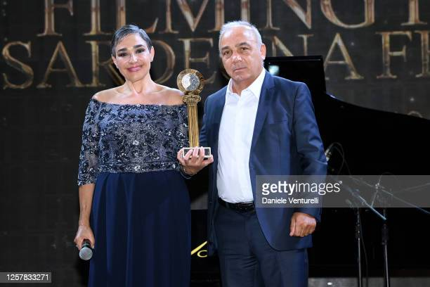 Maria Isabel Diaz Lago and Giovanni Chessa attend the second day of Filming Italy Sardegna Festival 2020 at Forte Village Resort on July 23 2020 in...