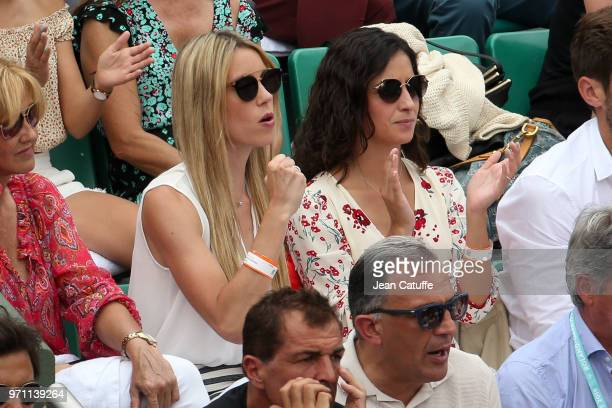 Maria Isabel Nadal sister of Rafael Nadal of Spain Xisca Perello his girlfriend during the men's final on Day 15 of the 2018 French Open at Roland...
