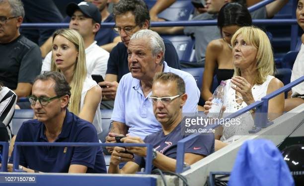 Maria Isabel Nadal sister of Rafael Nadal Sebastian Nadal his father Ana Maria Parera his mother during day 9 of the 2018 tennis US Open on Arthur...