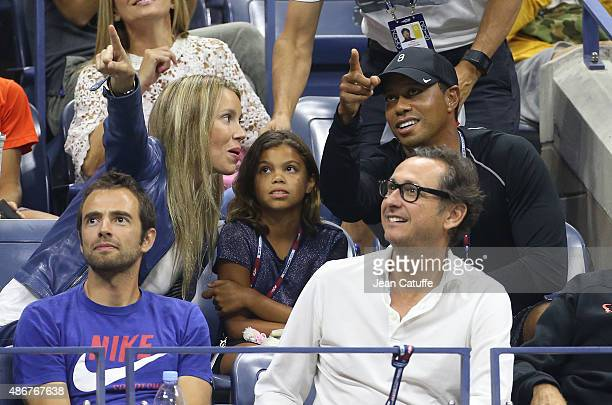 Maria Isabel Nadal sister of Rafael Nadal Tiger Woods and his daughter Sam Woods attend in Rafael Nadal's box his match against Fabio Fognini of...