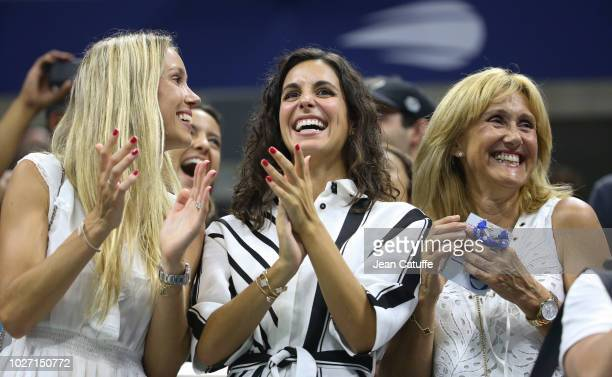 Maria Isabel Nadal sister of Rafael Nadal Xisca Perello his girlfriend Ana Maria Parera his mother celebrate his victory during day 9 of the 2018...