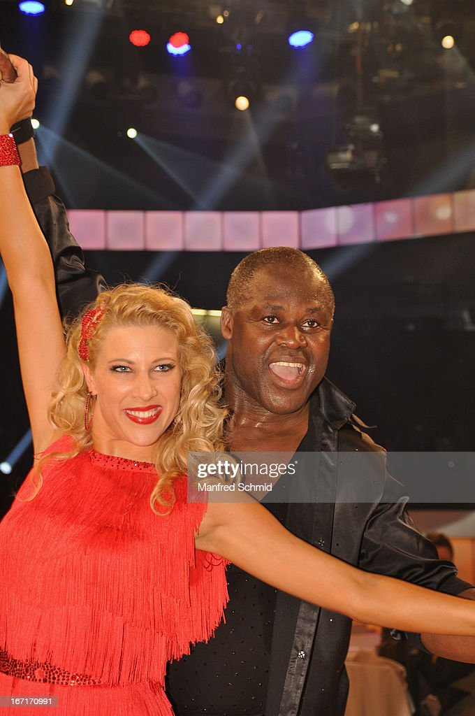 Maria Jahn and Biko Botowamungu pose on stage after the TV Show 'Dancing Stars' at ORF Center on April 19, 2013 in Vienna, Austria.