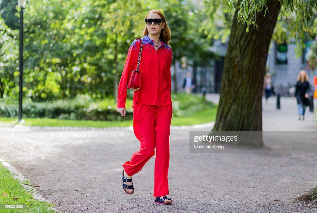 Stockholm Fashion Week Spring/Summer 2017 - Street Style : News Photo
