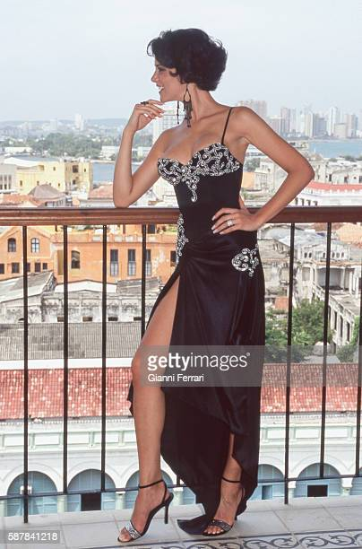 Maria Jesus Ruiz Miss Spain 2004 during a photoshoot in Cartagena de India 10th July 2004 Colombia
