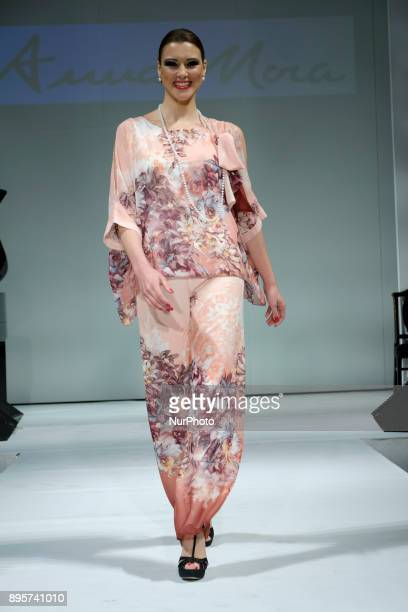 Maria Jesus Ruiz parades during the fashion show of Toni Fernandez in the Sala Joy Eslava in Madrid Spain December 19 2017