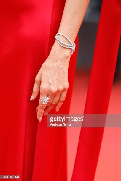 Maria Joao Bastosdetail attends 'Amant Double ' Red Carpet Arrivals during the 70th annual Cannes Film Festival at Palais des Festivals on May 26...