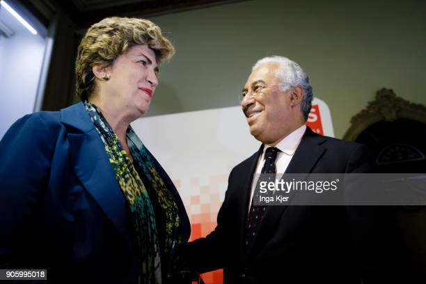 Maria Joao Rodrigues MEP and Vice President of the SD Group and President of FEPS and Antonio Costa Prime Minister of Portugal in the course of the...