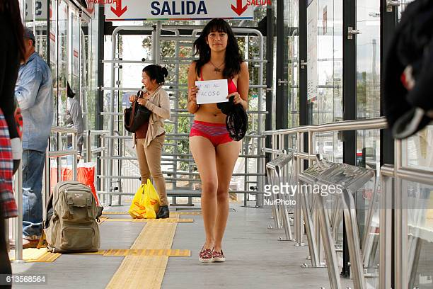 Maria Jose Lopez tired of harassment of women in public transport buses in Quito decided to protest in a peculiar way up to Trolebus in underwear...