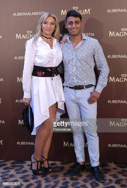 Maria Jose Magallanes and Yuskel Emboro attend the Magnum new campaign presentation party at the Palacete de Fortuny on June 14 2017 in Madrid Spain