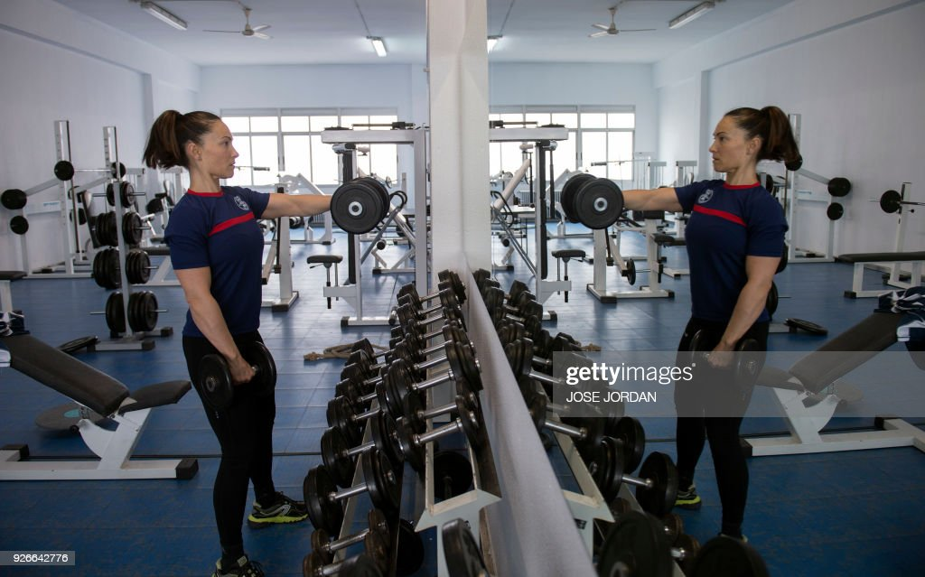 Maria jose martienz ortiz spanish firefighter trains at a gym in