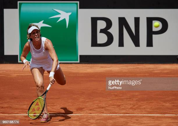 Maria Jose Martinez of Spain in action in her doubles match with Georgina Garcia Perez against Montserrat Gonzalez and Veronica Cepede of Paraguay...
