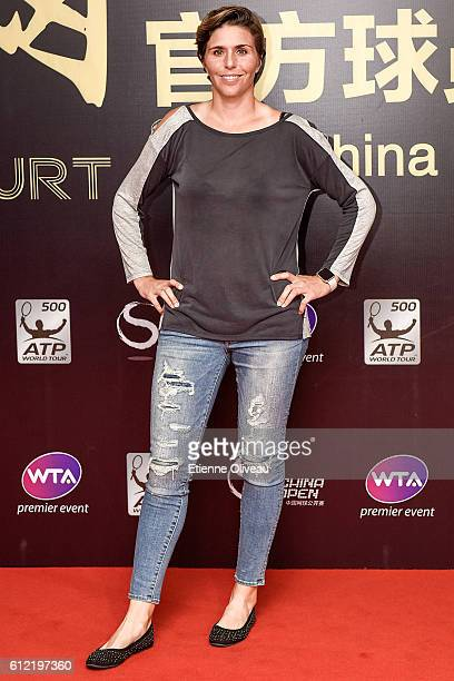 Maria Jose Martinez Sanchez of Spain arrives at the 2016 China Open Player Party at The Birds Nest on October 3 2016 in Beijing China