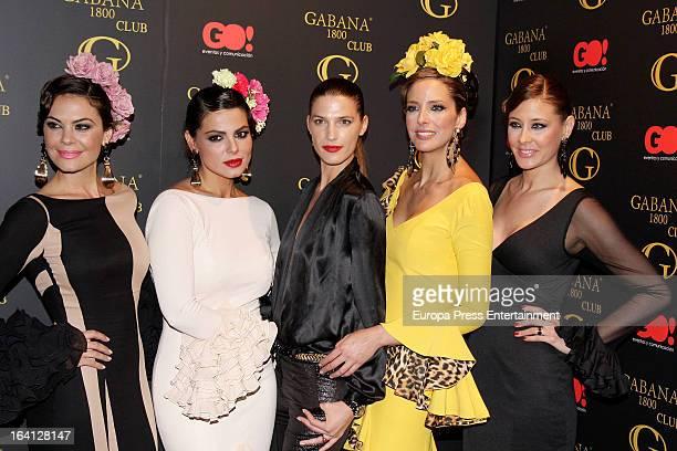 Maria Jose Suarez Marisa Jara Laura Sanchez Estefania Luyk and Elisabeth Reyes pose wearing flamenco dress during Flamenco Fashion Show on March 19...