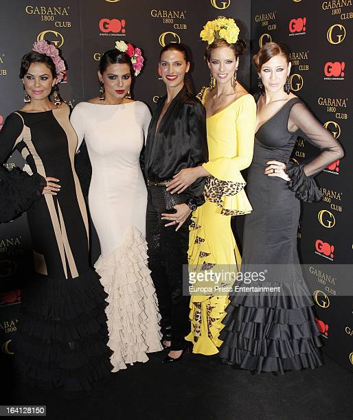 Maria Jose Suarez Marisa Jara Laura Sanchez Estefania Luyk and Elisabeth Reyes pose wearing flamenco dress during Flamenco Fashion Show on March 19...