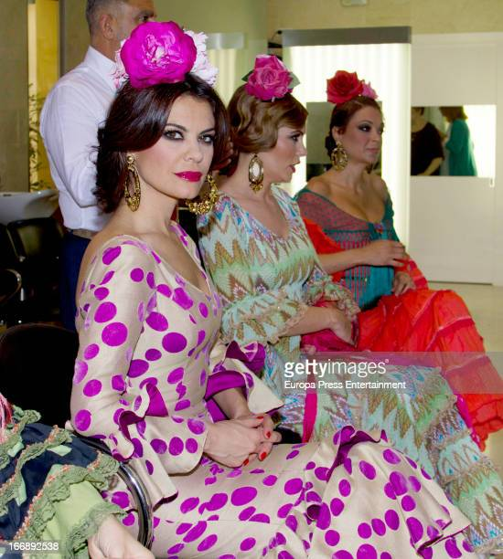 Maria Jose Suarez Raquel Rodriguez and Lucia Hoyos are seen wearing Flamenco Dresses on April 17 2013 in Seville Spain