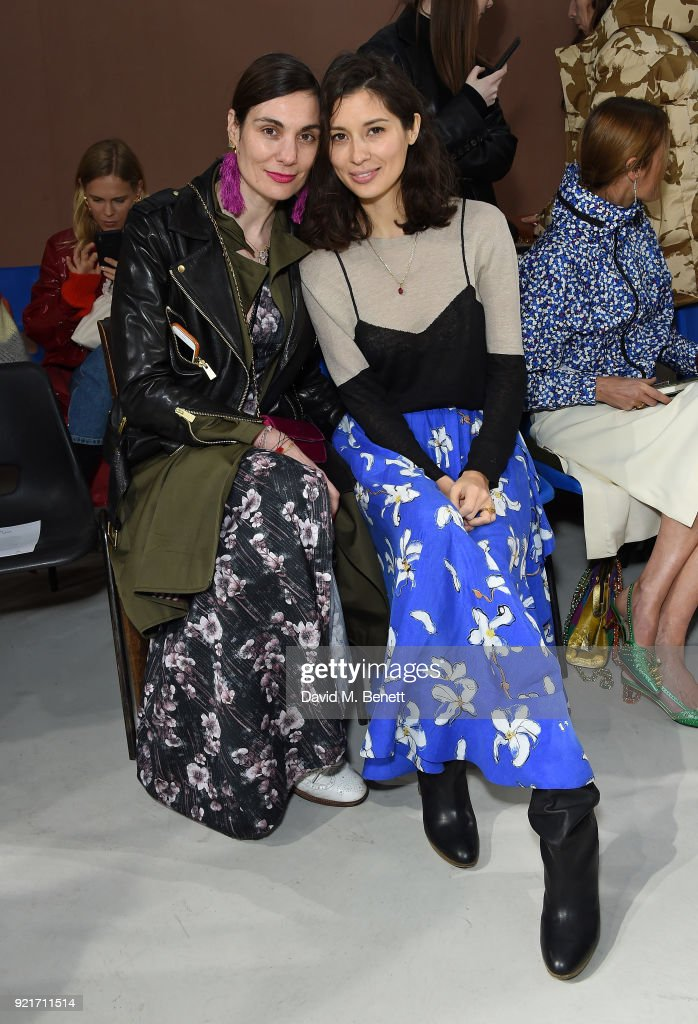 Maria Kastani and Jasmine Hemsley attend the Isa Arfen show during London Fashion Week February 2018 at Eccleston Place on February 20, 2018 in London, England.