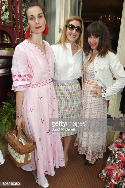 Maria Kastani Georgina Cohen and Annie Morris attend a lunch to celebrate Veuve Clicquot by Charlotte Olympia at Mark's Club on June 15 2017 in...