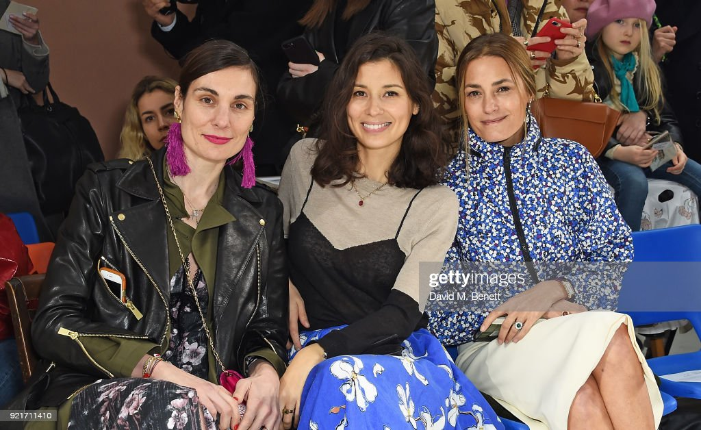 Maria Kastani, Jasmine Hemsley and Yasmin Le Bon attend the Isa Arfen show during London Fashion Week February 2018 at Eccleston Place on February 20, 2018 in London, England.