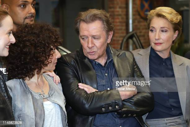 Maria Ketikidou Patrick Abozen Jan Fedder and Saskia Fischer attend a photocall on the set of ARD TV series 'Grossstadtrevier' on May 24 2019 in...