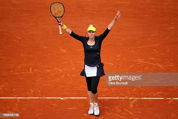 Maria Kirilenko of Russia celebrates match point during her Women's Singles match against Bethanie MattekSands of the United States of America on day...