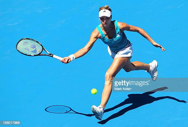 Maria Kirilenko of Russia plays a forehand in her first round match against Olivia Rogowska of Australia during day one of the Sydney International...