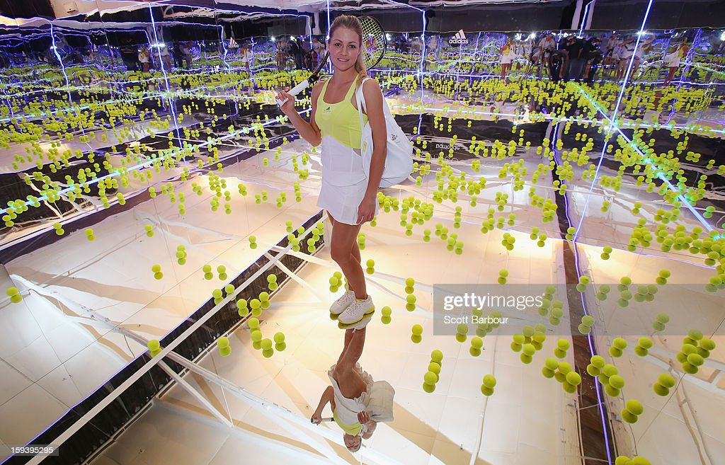 Maria Kirilenko of Russia poses on a mirror court at the Adidas by Stella McCartney media launch on January 13, 2013 in Melbourne, Australia. To globally launch the first adidas by Stella McCartney collection tennis players Caroline Wozniacki, Maria Kirilenko and Laura Robson played tennis in the world's first mirror court.
