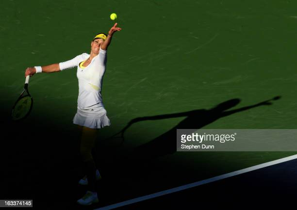 Maria Kirilenko of Russia serves to Christina McHale during day 3 of the BNP Paribas Open at Indian Wells Tennis Garden on March 8 2013 in Indian...
