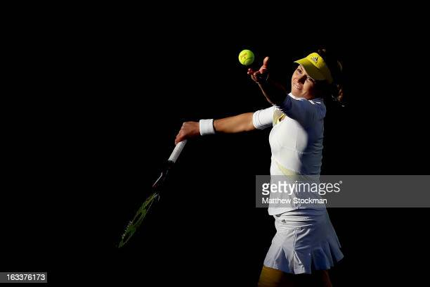 Maria Kirilenko of Russia serves to Christina McHale during the BNP Paribas Open at the Indian Wells Tennis Garden on March 8 2013 in Indian Wells...