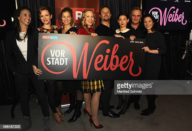Maria Koestlinger Adina Vetter Hilde Dalik Nina Proll Philipp Hochmair Martina Ebm Bernhard Schir and Julia Stemberger pose during the...