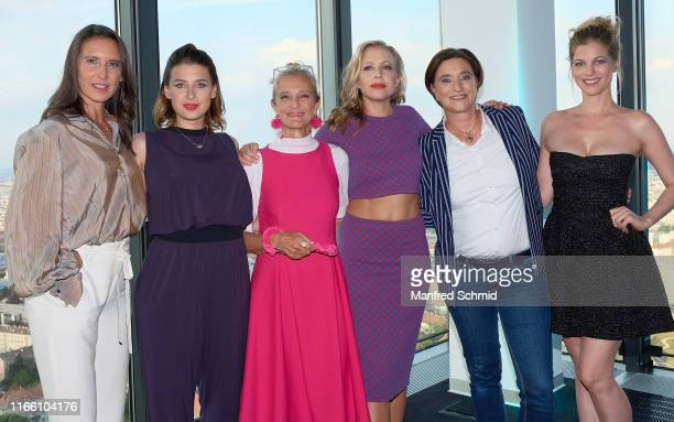 Maria Koestlinger Martina Ebm Kathrin Zechner Nina Proll Lisa Totzauer and Hilde Dalik pose during the Vorstadtweiber premiere at Cineplexx...