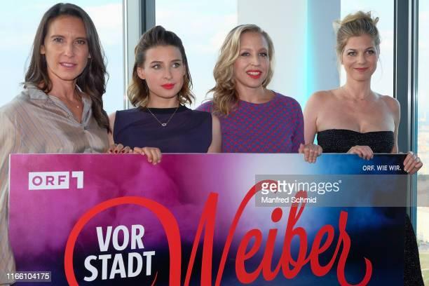 Maria Koestlinger Martina Ebm Nina Proll and Hilde Dalik pose during the Vorstadtweiber premiere at Cineplexx Wienerberg ThirtyFive on September 5...