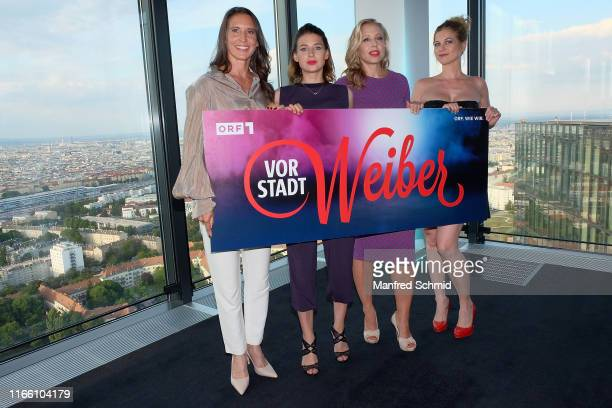 Maria Koestlinger Martina Ebm Nina Proll and Hilde Dalik pose during the Vorstadtweiber premiere at Cineplexx Wienerberg ThirtyFive on September 5...