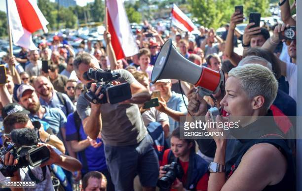 Maria Kolesnikova a representative of Belarusian politician Viktor Babariko and Svetlana Tikhanovskaya's campaign rally speaks during a rally in...