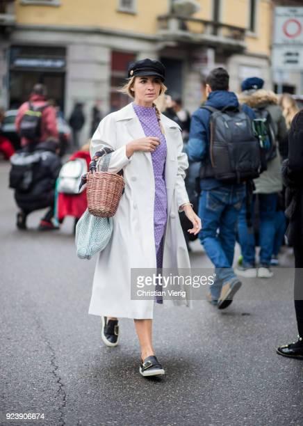 Maria Kolosova seen outside Armani during Milan Fashion Week Fall/Winter 2018/19 on February 24 2018 in Milan Italy