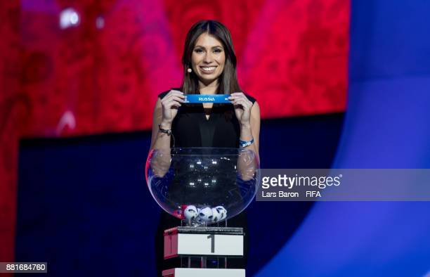 Maria Komandnay is seen on stage during the Behind the Scenes of the Final Draw for the 2018 FIFA World Cup at the Draw hall on November 29 2017 in...